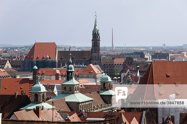 View from Kaiserburg Castle of the town hall and Lorenzkirche Church  Nuremberg  Middle Franconia  Franconia  Bavaria  Germany  Europe
