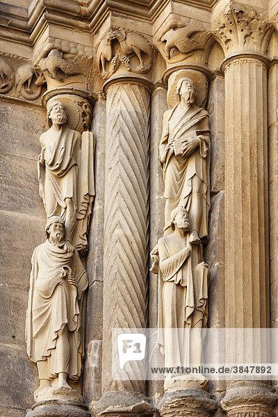 Detail des Fürstenportals  Bamberger Dom  Bamberg  Oberfranken  Franken  Bayern  Deutschland  Europa