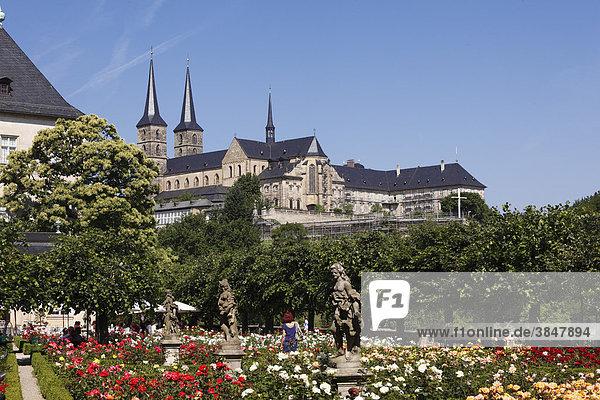 Rosengarten der Neuen Residenz  Kirche St. Michael  Bamberg  Oberfranken  Franken  Bayern  Deutschland  Europa