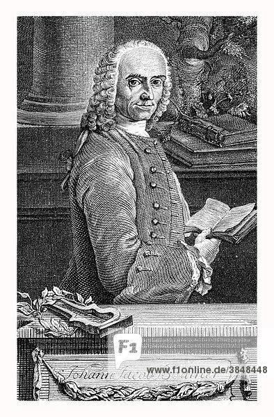 Johann Jacob Bodmer  nach einem Stich von 1758  historische Abbildung aus Deutsche Literaturgeschichte von 1885