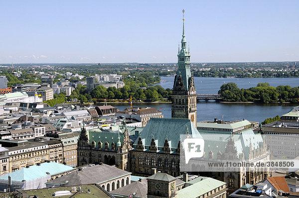 Rathaus  Binnenlaster und Außenalster  Hamburg  Deutschland  Europa