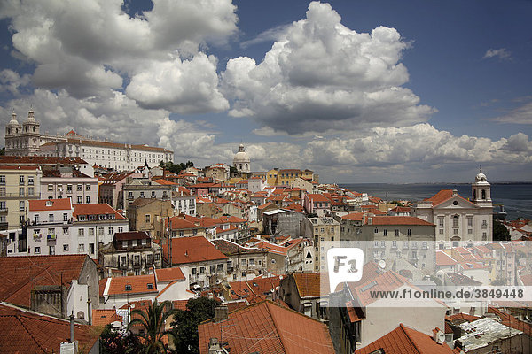 View from the vantage point Portas do Sol on the roofs of the Alfama old town of Lisbon  Portugal  Europe
