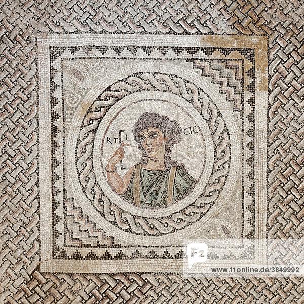 Ktisis-Mosaik im Haus des Eustolios  Ausgrabungsgelände der Stadt Kurion  antike Stätte  Südzypern  Südküste  griechisch  Insel Zypern  Südeuropa