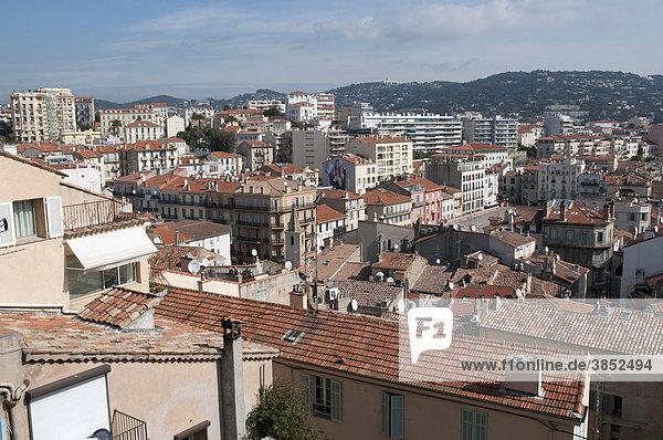 Ausblick von La Castre auf Cannes  Mont Chevalier  Cannes  CÙte d'Azur  Frankreich  Europa