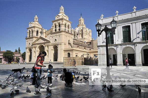 Mütter und Kinder füttern Tauben auf dem Platz Praza San Martin vor der Kathedrale  Iglesia Catedral  Cordoba  Argentinien  Südamerika