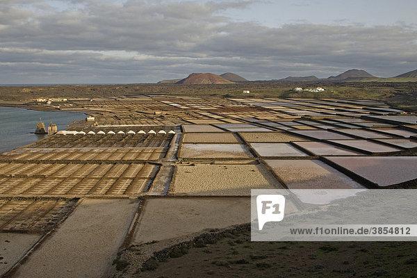 View of coastal saltpans  Salinas de Janubio  Lanzarote  Canary Islands  Spain  Europe