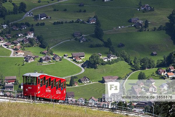 Funicular railway over Toggenburg landscape  Unterwasser  Canton St Gallen  Switzerland  Europe