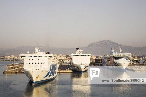 Car ferries in the port of Olbia  Sardinia  Italy  Europe