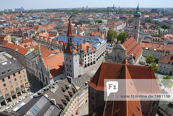 View from the 'Alter Peter' tower  St. Peter  of rooftops  city centre  Old Town Hall  Talburgtor Gate  Heilig-Geist Church  historic centre  Munich  Upper Bavaria  Germany  Europe
