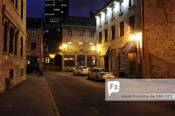 Street in the historic old town of Montreal  Quebec  Canada