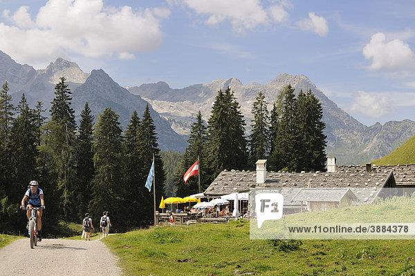 Almhütte  Wanderung Kallbrunnalm  Weißbach bei Lofer  Salzburg  Österreich  Europa