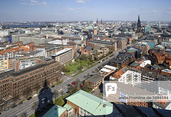 View from St. Michaelis church  popular nickname Michel  onto Hamburg  Germany  Europe