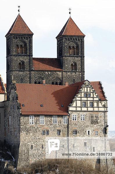 Schloss und Stiftskirche St. Servatii  Schlossberg  Quedlinburg  Harz  Sachsen-Anhalt  Deutschland  Europa Schloss und Stiftskirche St. Servatii, Schlossberg, Quedlinburg, Harz, Sachsen-Anhalt, Deutschland, Europa
