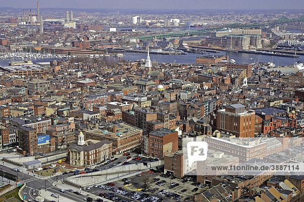 North End neighborhood and beyond  aerial view  Boston  Massachusetts  New England  USA
