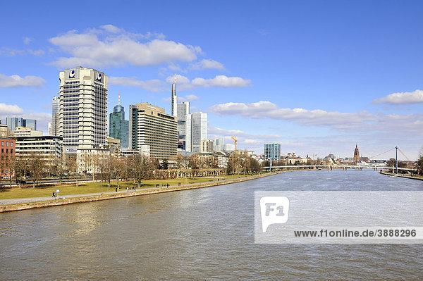 Blick über den Main zur Skyline des Bankenviertels der Stadt Frankfurt,  Hessen,  Deutschland,  Europa