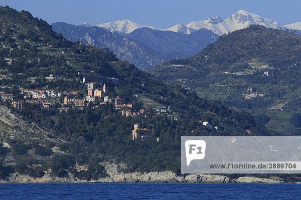Mortola und Giardini Hanbury  bei Ventimiglia  Provinz Imperia  Ligurien  Italienische Riviera  Italien  Europa