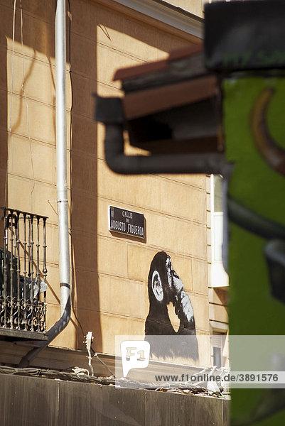 Affe  Graffiti im Barrio Chamberi  Madrid  Spanien  Europa