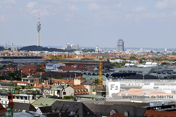 View from Alten Peter  St. Peter's Church  towards Olympic Tower and the BMW Tower  Munich  Bavaria  Germany  Europe