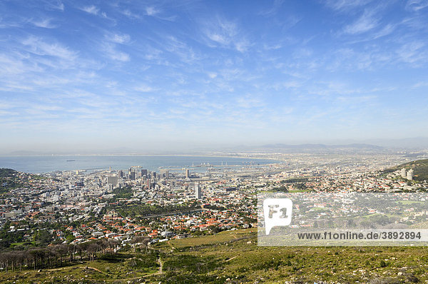 View from the valley station of the Table Mountain Cableway on Cape Town  Western Cape  South Africa  Africa