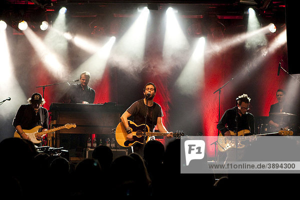 The Swiss singer and songwriter Reto Burrell with band live at the Schueuer venue  Lucerne  Switzerland