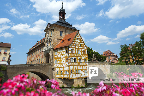 Altes Rathaus auf einer Insel über der Regnitz  Bamberg  Deutschland