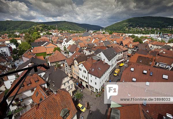 Blick auf die historische Altstadt von Lohr am Main  Hessen  Deutschland  Europa