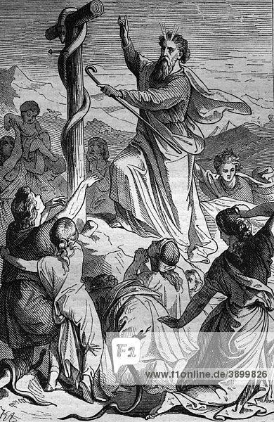 Moses richtet die Schlange auf  historischer Stahlstich aus dem Jahre 1860