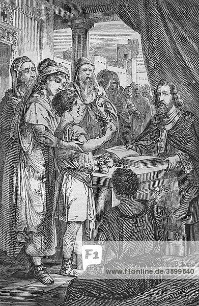 Die Gläubigen legen ihr Geld zu den Füßen der Apostel  historischer Stahlstich aus dem Jahre 1860