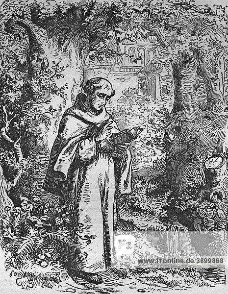 Der betende Mönch  historischer Stahlstich aus dem Jahre 1860