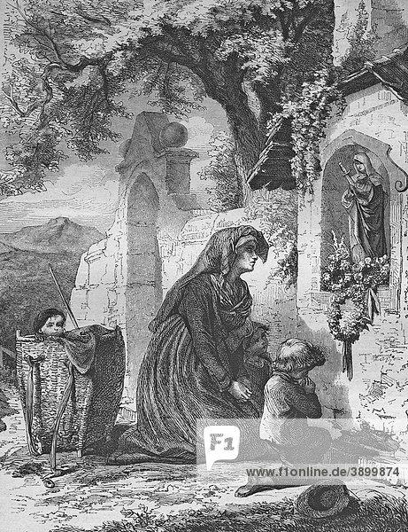 Anrufung der Heiligen  historischer Stahlstich aus dem Jahre 1860