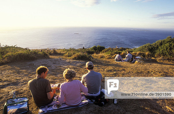 People at a picnic on Signal Hill  overlooking the Atlantic Ocean  Cape Town  Western Cape  South Africa  Africa