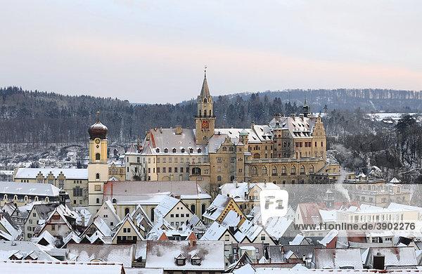 Schloss Sigmaringen castle in winter in the morning  Sigmaringen  Baden-Wuerttemberg  Germany  Europe