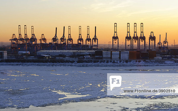 Sunset in the wintery port of Hamburg,  Elbe river,  Hamburg,  Germany,  Europe