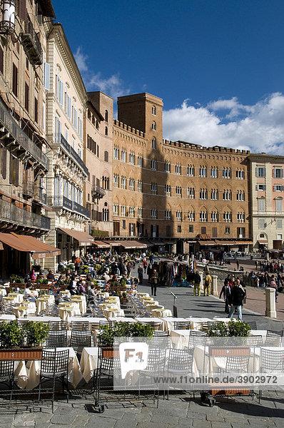 Piazza del Campo  Siena  UNESCO-Weltkulturerbe  Toskana  Italien  Europa