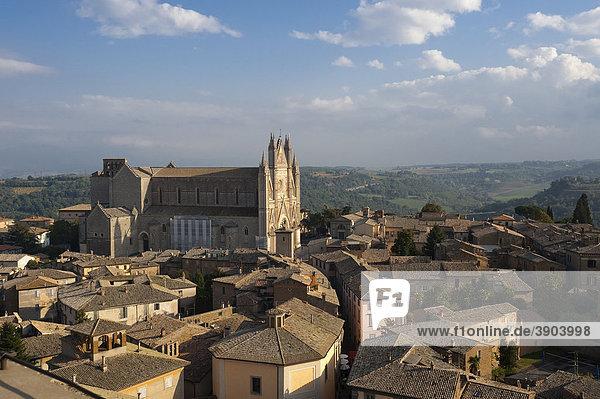 Orvieto with Duomo Santa Maria Assunta cathedral  from Torre Rosso  Umbria  Italy  Europe