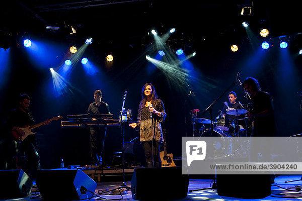 The Swiss singer Caroline Chevin live with band in the Schueuer venue  Lucerne  Switzerland
