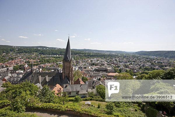 Blick auf die St Marienkirche  Marburg  Hessen  Deutschland  Europa