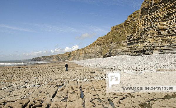 Person auf Strand  Klippen  Küste  Nash Point  Glamorgan Heritage Coast  Südwales  Wales  Großbritannien  Europa