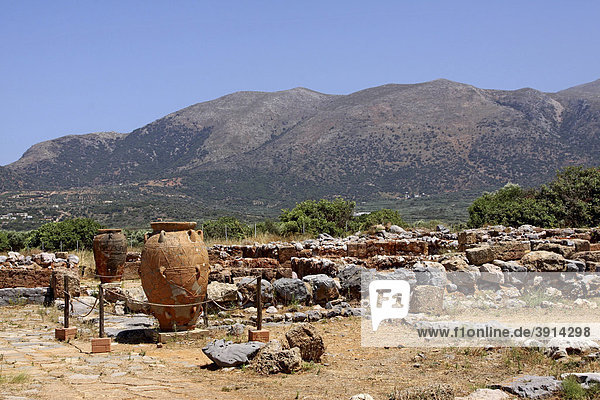 Clay containers  Malia Palace  archaeological excavation site  Minoan Palace  Heraklion  Crete  Greece  Europe
