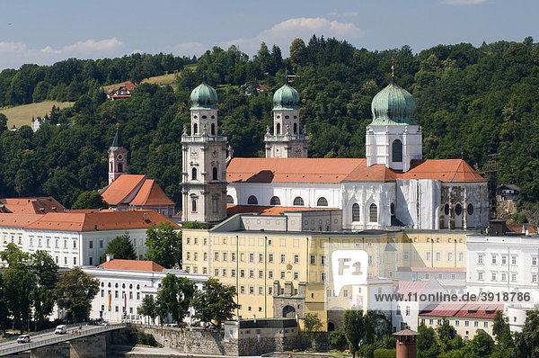 Dom St. Stephan  Alte und Neue Residenz  Passau  Bayerischer Wald  Bayern  Deutschland  Europa
