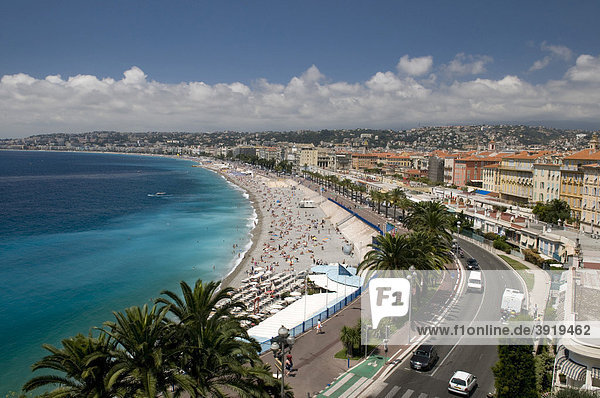 View of Nice and the beach  from the castle mountain Colline du Chateau  Nice  Cote d'Azur  Provence  France  Europe