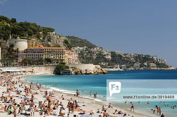 Strand vor dem Schlossberg Colline du Chateau  Nizza  Cote d'Azur  Provence  Frankreich  Europa
