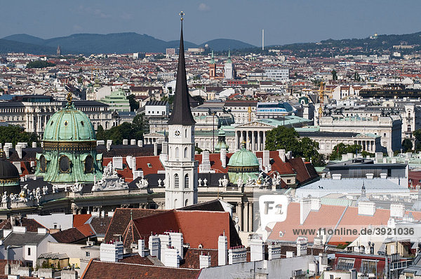 View from St. Stephen's Cathedral on the city with Hofburg and Parliament  Vienna  Austria  Europe