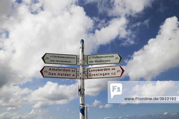 Niederländische Wegweiser für Radfahrer  Niederlande  Europa