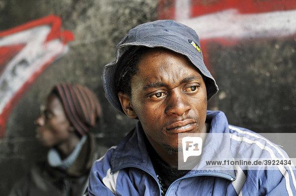 Street children under the Mandela Bridge  Johannesburg  South Africa  Africa