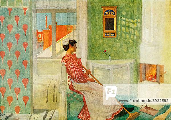Martina  historische Illustration aus: Carl Larsson: Lasst Licht hinein  Berlin 1909  Nr. 13