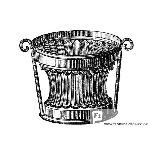 Form für heiße Pastete  historische Illustration aus: Marie Adenfeller  Friedrich Werner: Illustriertes Koch- und Haushaltungsbuch  Friedrichshagen 1899-1900  S. 685  Fig. 1759