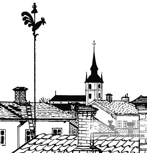 Von Esbjörns Fenster  historische Illustration aus Carl Larsson: Lasst Licht hinein  Berlin 1909  Zeichnung im Textteil