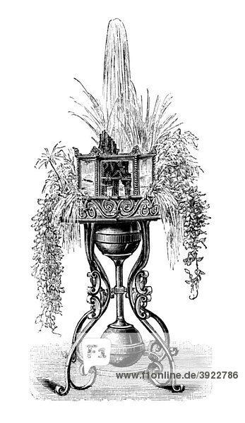 Blumentisch mit selbsttätiger Fontäne und achteckigem Aquarium  historische Illustration aus: Theodor Lange: Allgemeines Illustriertes Gartenbuch  Bd. 1  Leipzig 1902  S. 675  Abb. 690