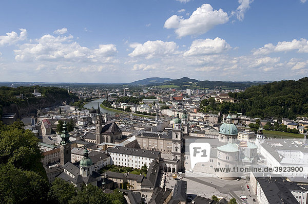 View from the fortress on the historic city of Salzburg  Austria  Europe
